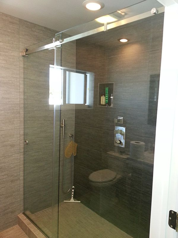 frameless single sliding shower doors